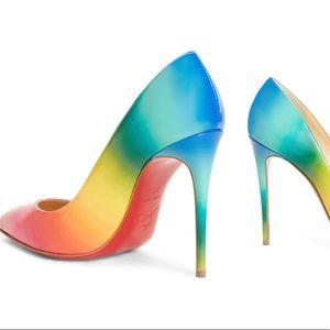 Auth. Christian Louboutin Pigalle Follows rainbow